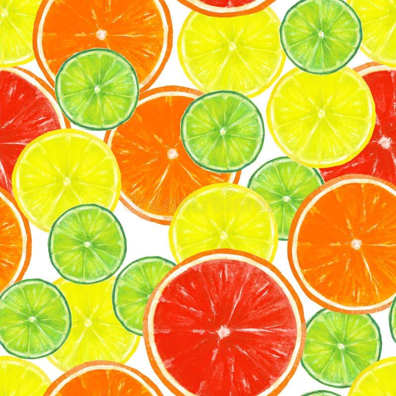 与柠檬、石灰、桔子和葡萄柚切片的无缝的样式 免版税库存图片