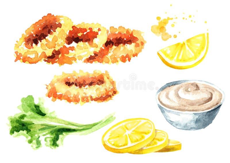 与柠檬和调味汁集合,海鲜,在白色背景隔绝的水彩手拉的例证的被油炸的乌贼圆环 皇族释放例证