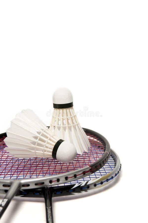 与查出的shuttlecock的羽毛球球拍 免版税库存照片