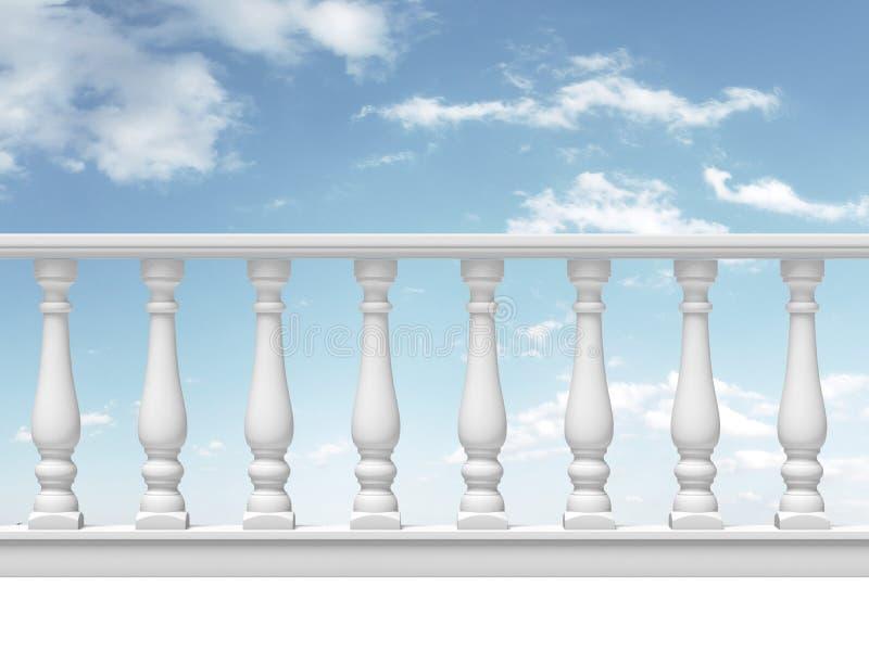 与柱子的白色楼梯栏杆在天空背景 向量例证