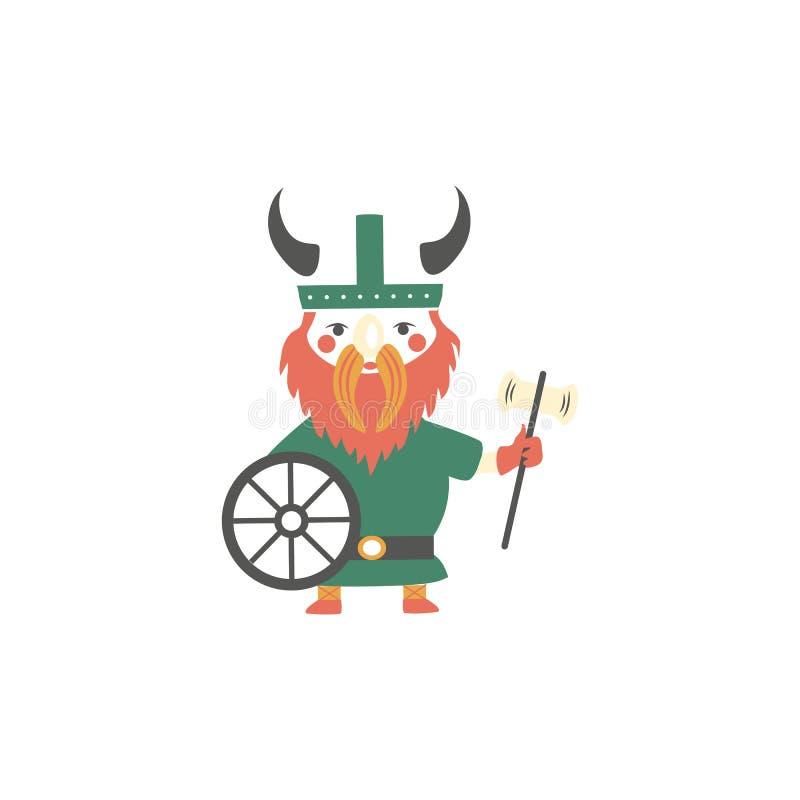 与柴刀和盾的逗人喜爱的传染媒介北欧海盗在与垫铁例证的盔甲在白色背景,滑稽的动画片 库存例证