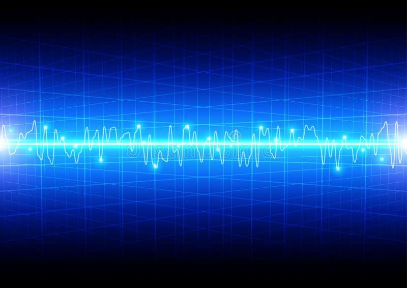 与栅格的抽象光波概念在蓝色背景technol