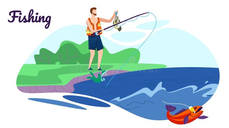 与标尺的渔夫立场海岸的有好抓住 库存例证