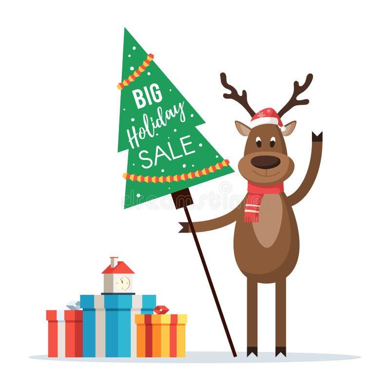与标志假日销售的圣诞节鹿 库存例证