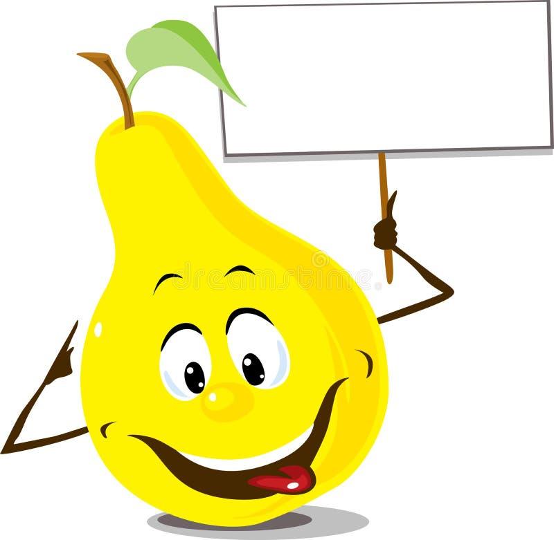 与标志板举行在手中-平的设计传染媒介illustrationPear果子与标志板举行在手中-平的设计v的梨果子 向量例证