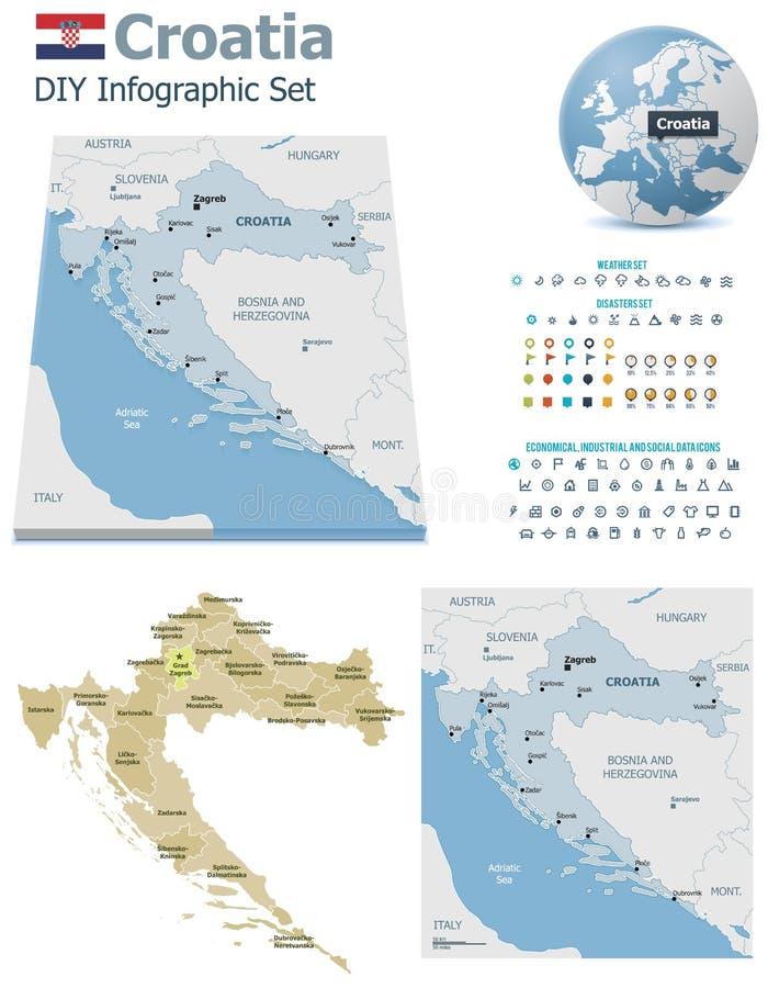 与标志的克罗地亚地图 库存例证