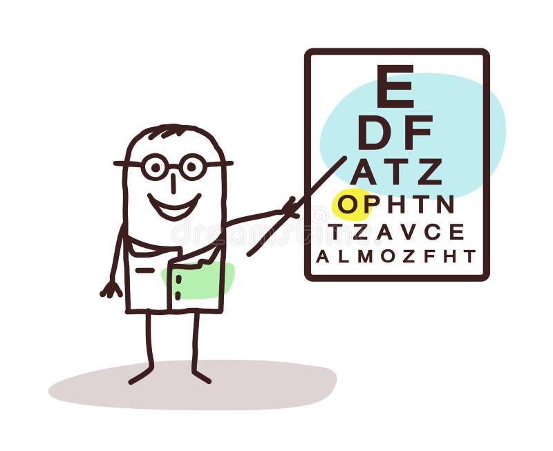 与标志的动画片ophtalmologist在船上 皇族释放例证