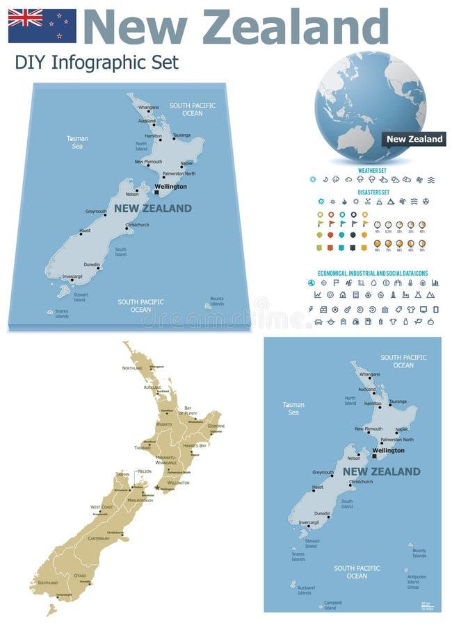 与标志的新西兰地图 库存例证