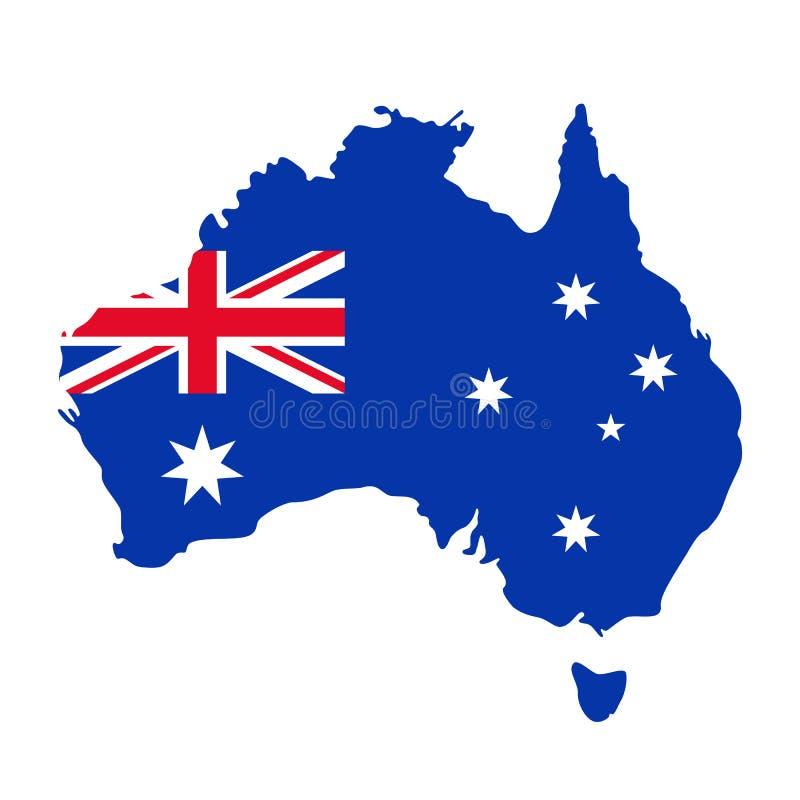 与标志的澳洲映射 也corel凹道例证向量 背景蓝色红色 向量例证
