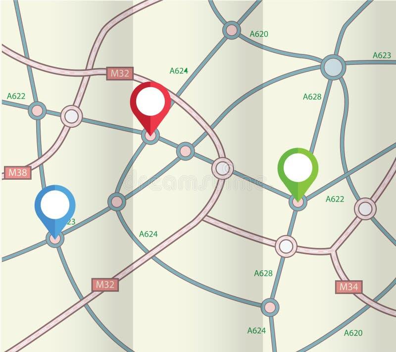 与标志的被折叠的抽象路线图 库存例证