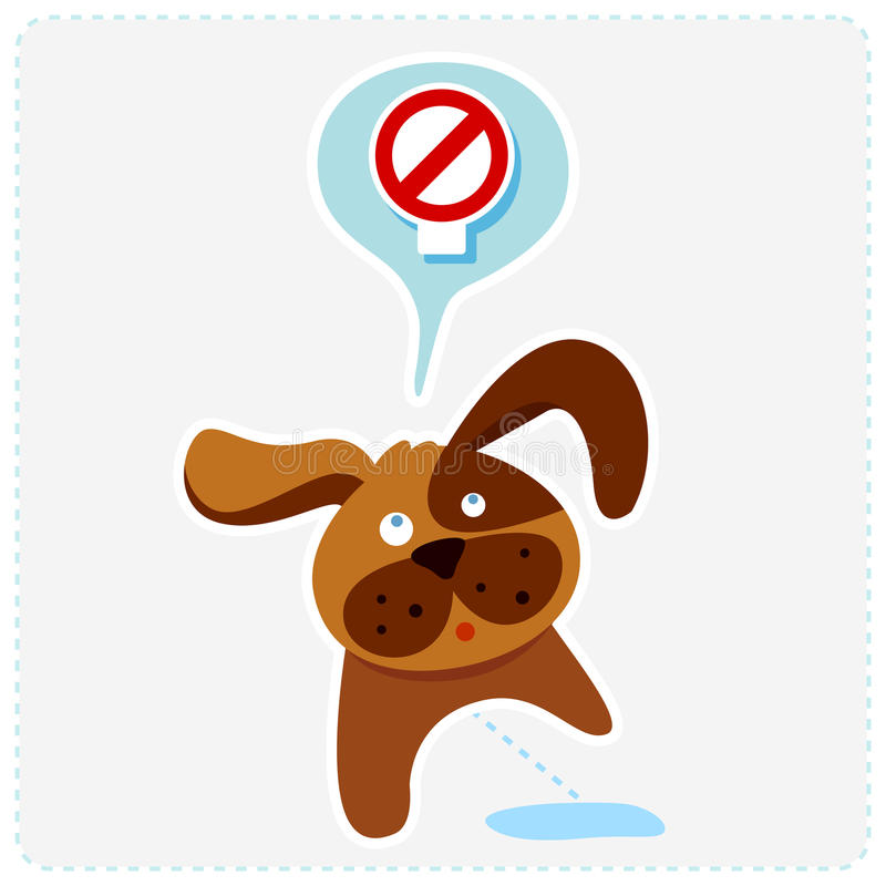 与标志的逗人喜爱的动画片狗-导航例证 皇族释放例证