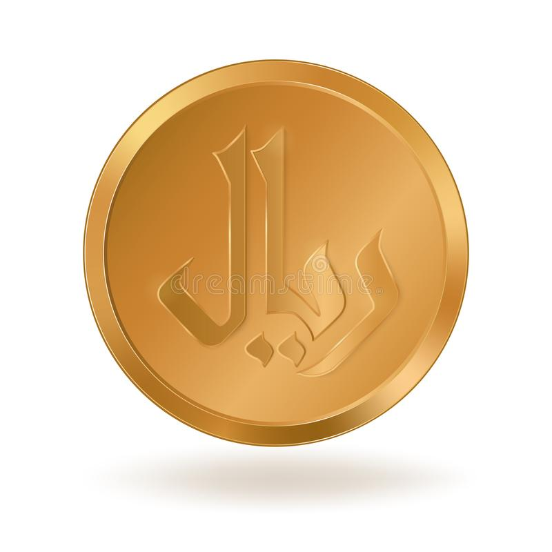 与标志里亚尔的金黄硬币 库存例证