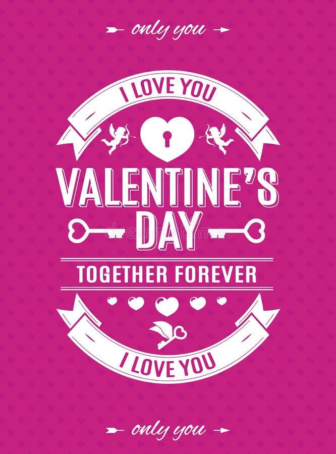 与标签印刷术样式的情人节在心脏背景的卡片和丘比特变粉红色颜色 向量例证