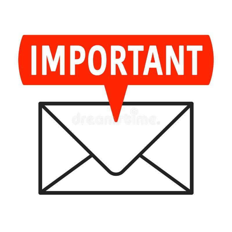 与标签和信封的重要邮件象 库存例证
