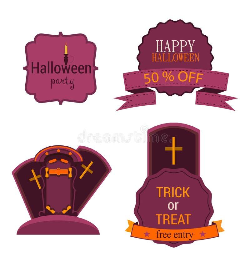 与标签和贴纸,十字架的万圣夜传染媒介集合徽章 愉快的党例证的飞行物或邀请模板 库存例证
