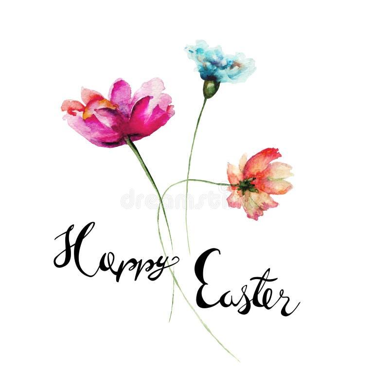 与标题复活节快乐的五颜六色的野花 向量例证