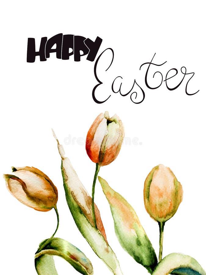 与标题复活节快乐的黄色郁金香花 库存例证