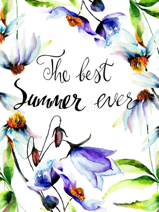 与标题的蓝色花最佳的夏天  库存例证