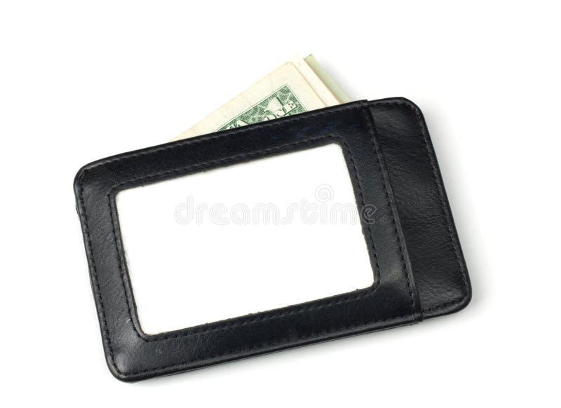 与栈的黑色皮革钱包里面美元 免版税库存照片