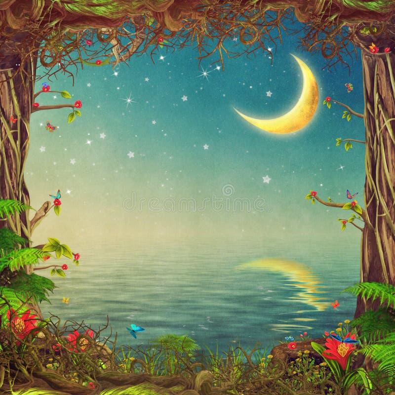 与树、天空和月亮的美好的森林地场面在海 向量例证