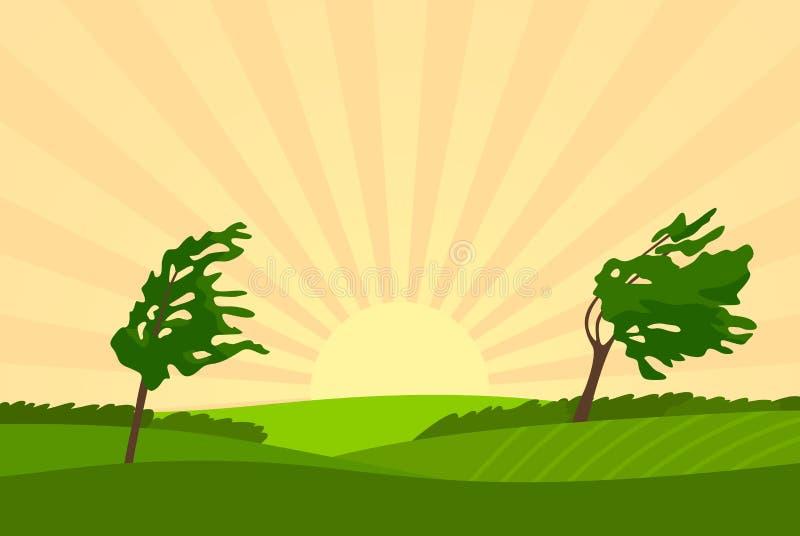与树、领域、starburst和刮风的天气的夏天农村风景 r 皇族释放例证