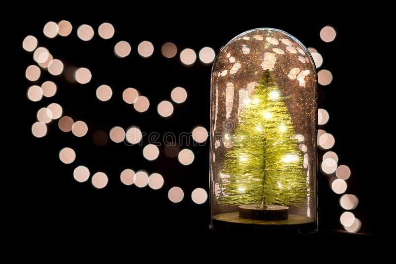 与树和不可思议的闪烁的里面的圣诞节地球 库存图片