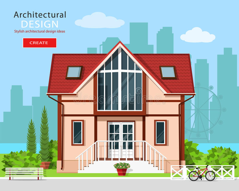与树和城市地平线背景的逗人喜爱的现代私有房子门面设计 时髦的详细的大厦外部 库存例证
