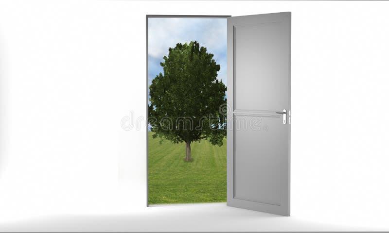 与树和天空的门户开放主义的结束白色 向量例证