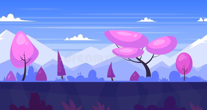 与树和山的动画片自然无缝的风景 库存例证