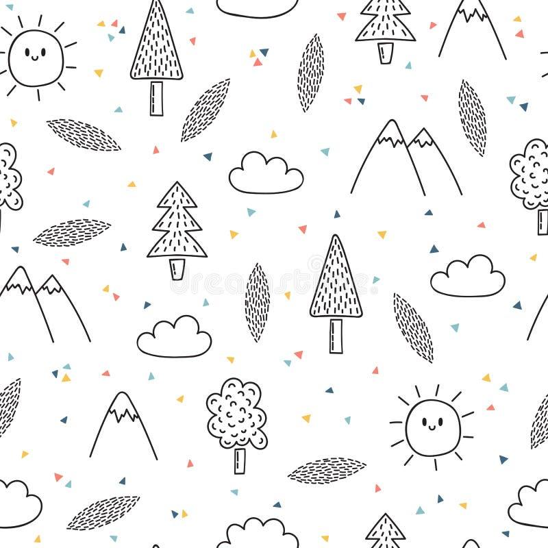 与树和山的手拉的无缝的样式 创造性的种族斯堪的纳维亚森林地背景 抽象几何艺术pri 向量例证