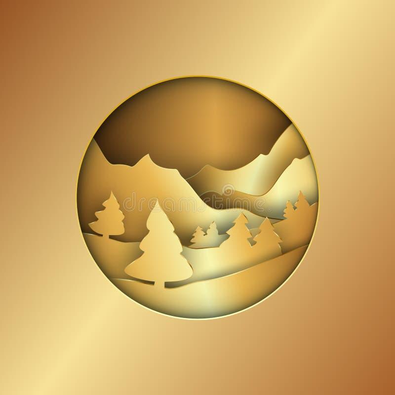 与树和山的金黄冬天风景 圣诞节 库存例证