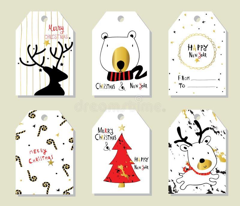与树和熊的轻的黑红色金子爱圣诞节价牌 向量例证
