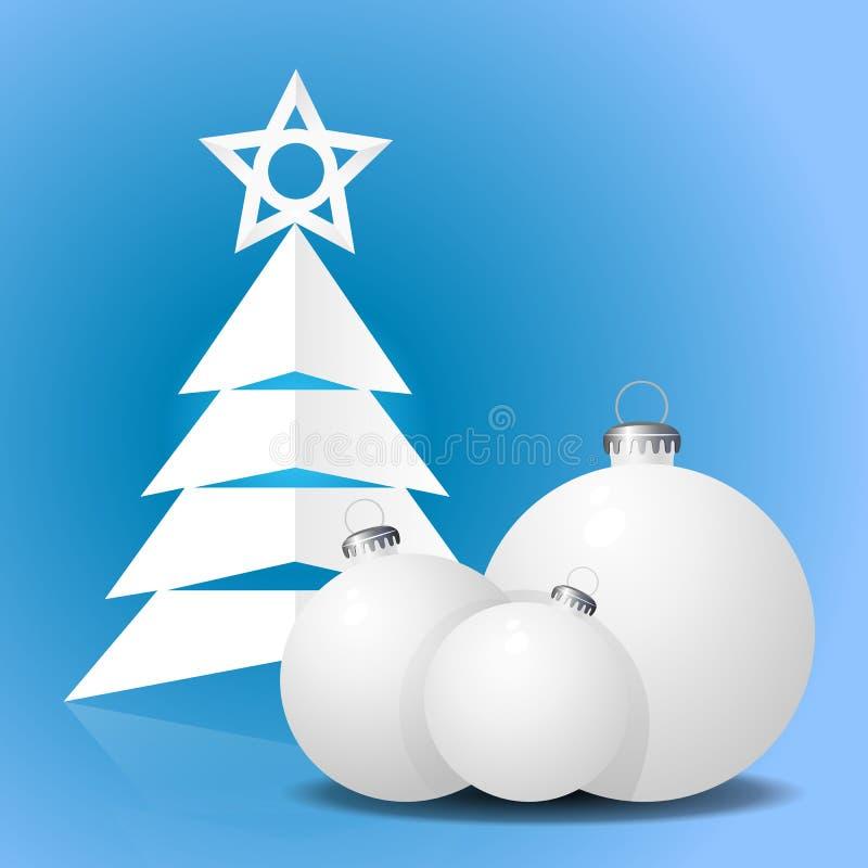 与树和球的圣诞卡 库存例证