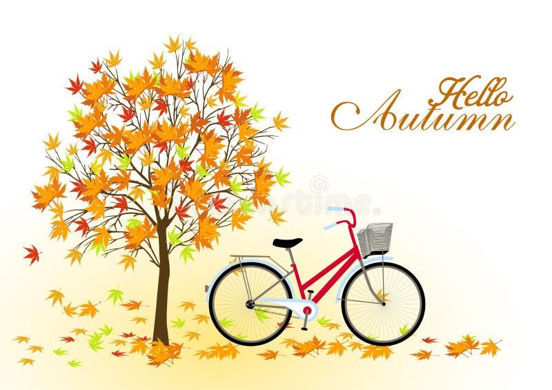 与树和自行车的秋天背景 向量. ,并且, 花卉.图片