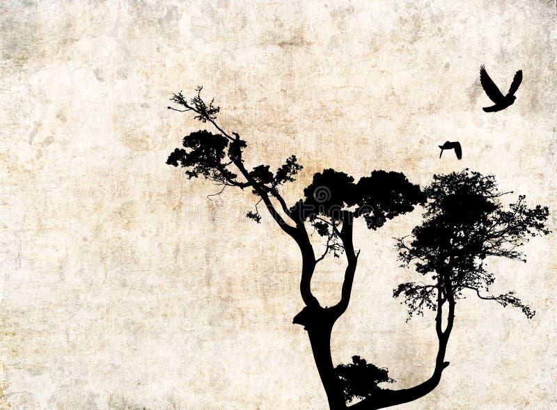 与树和鸟的背景 皇族释放例证