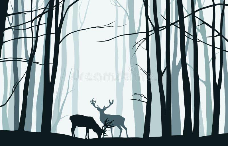 与树和鹿- vect蓝色剪影的森林风景  向量例证