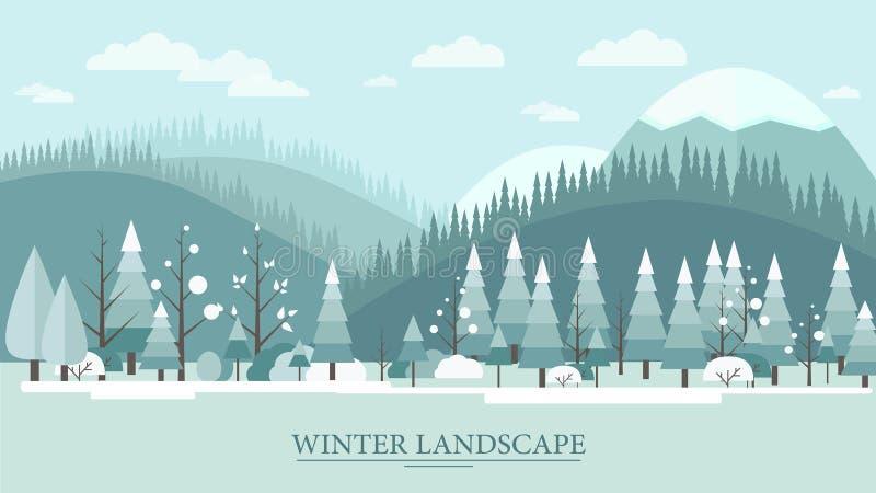 与树小山和云彩的平的设计自然冬天风景例证 免版税库存图片