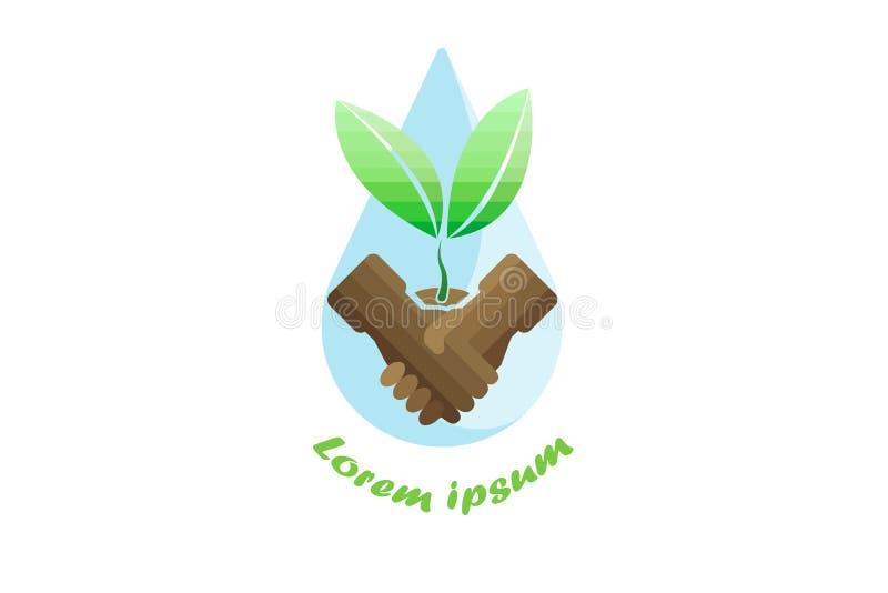 与树木种植和小滴,传染媒介商标设计握手 向量例证