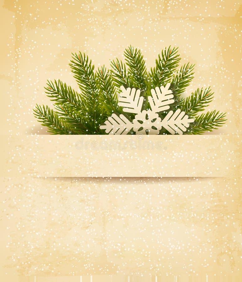 与树枝的圣诞节减速火箭的背景和  向量例证