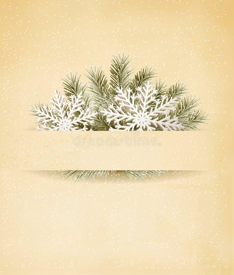 与树枝的圣诞节减速火箭的背景和  库存例证