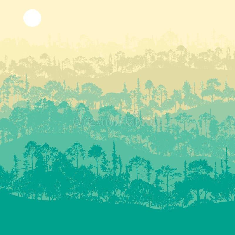 与树的传染媒介风景 皇族释放例证