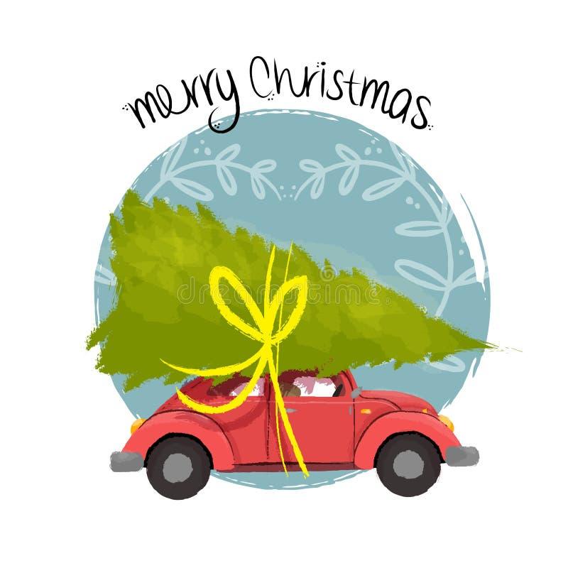 与树的圣诞快乐减速火箭的汽车例证 向量例证