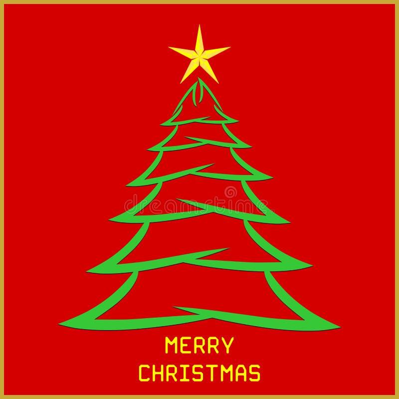 与树的圣诞节消息 向量例证