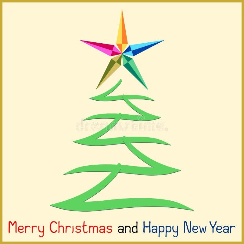 与树的圣诞节消息 库存例证