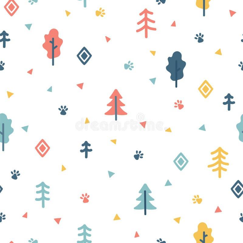 与树的手拉的无缝的样式 饮料例证纸张减速火箭主题向量包裹 您的设计的时髦的乱画森林背景 向量例证