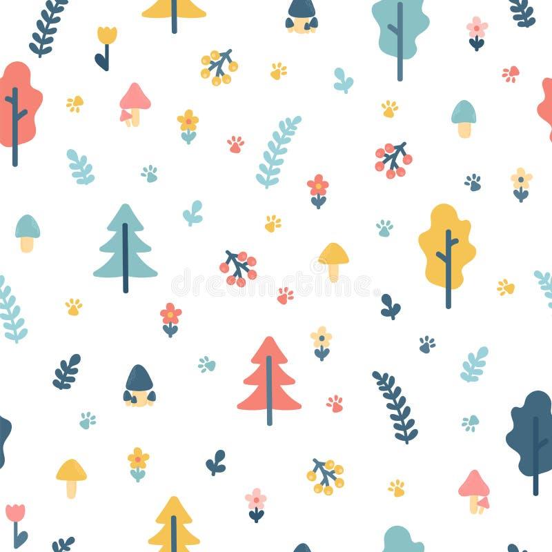 与树的手拉的无缝的样式 饮料例证纸张减速火箭主题向量包裹 您背景的设计 时髦的乱画森林 向量例证