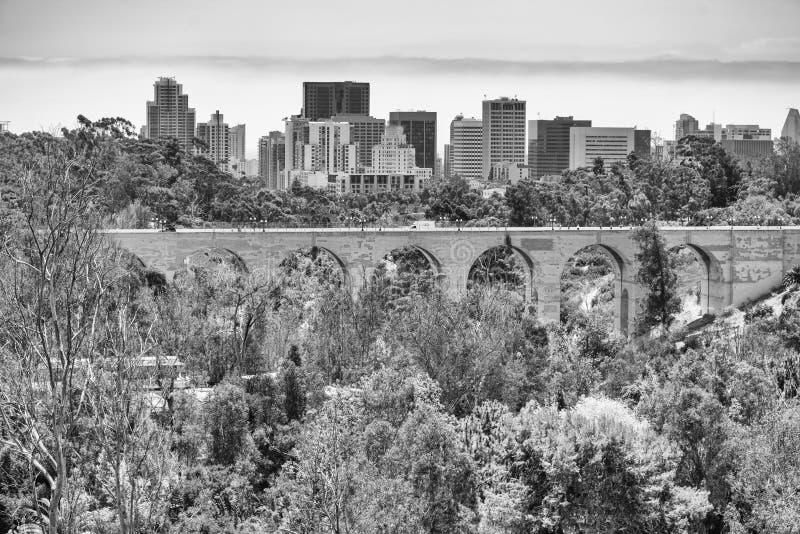 与树的桥梁和圣地亚哥地平线在前景 免版税库存照片
