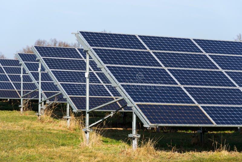 与树的蓝色太阳电池板photovoltaics发电站在背景中 免版税库存图片