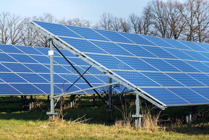 与树的蓝色太阳电池板photovoltaics发电站在背景中 免版税库存照片