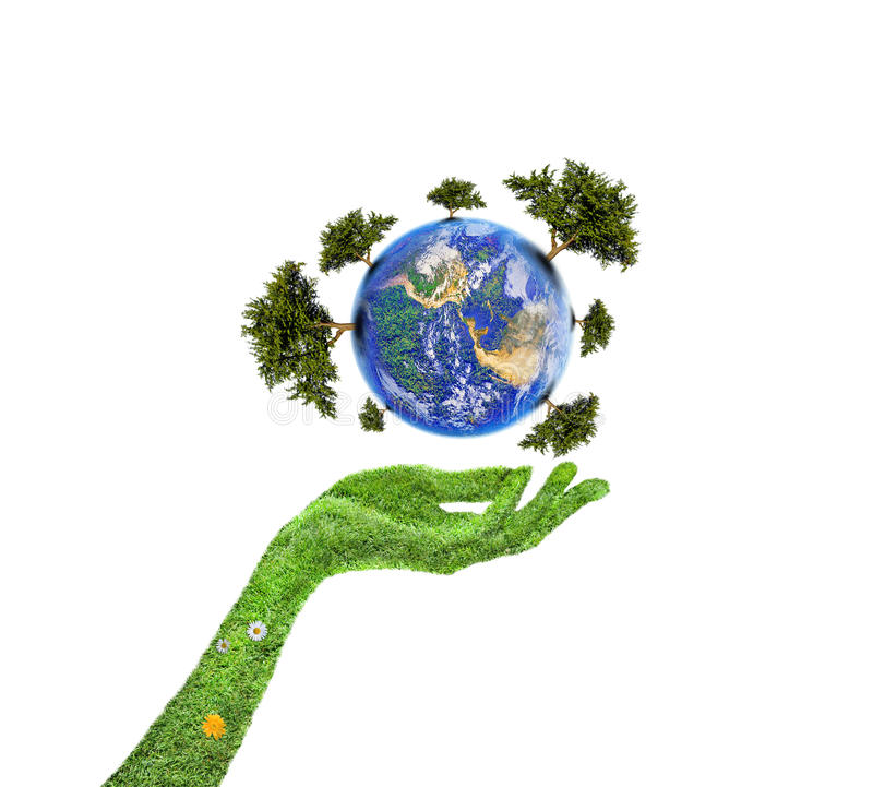 与树的行星 免版税库存图片